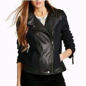 Lucky Brand Mix Hybrid Canvas Leather Moto Jacket